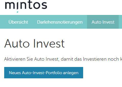 Minto Auto Invest Portfolio anlegen