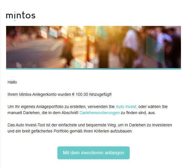 Mintos eMail Bestätigung Anlegerkonto Geld hinzugefügt